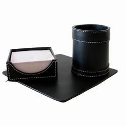 Kontorsæt - sort læder