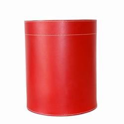 Papirkurv - rødt læder