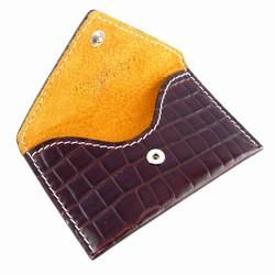 Visitkortholder - brun kroko læder
