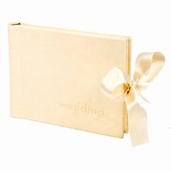 Cremefarvet bryllupsalbum - læderlook