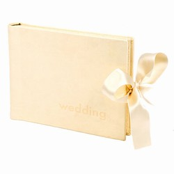 Cremefarvet bryllupsalbum - l�derlook