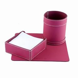 Kontorsæt - pink læder