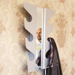 Wave coatrack med spejl - s�lvfarvet knager�kke