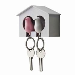 Nøgleholder med fugle - hvid og pink