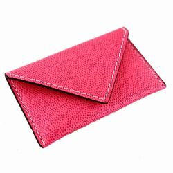 Visitkortholder - pink læder