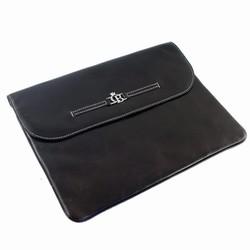 L�der taske til iPad - m�rkbrun