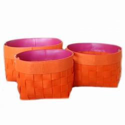 Billede af Kurve i filt - orange 3 stk.
