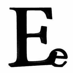 Sort bogstav - E