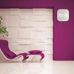 Billede af Hvid glas vægur med LED tal