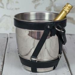 Champagnekøler - metal og sort læder fra N/A på fenomen