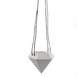 Billede af Diamond potte med sort læder - large