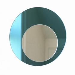 We rund spejl - blå/sølv