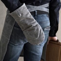 Grill handske i læder - grå