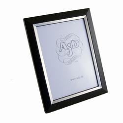 Image of   Træ fotoramme i sort og sølv 13x18 cm