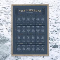 Billede af Gehalt plakat Fisk og Skaldyr - mørkblå