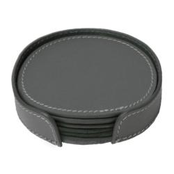 Billede af Læder glasbrikker - grå