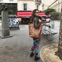 Stor læder taske - stor shopper - brun kroko præg