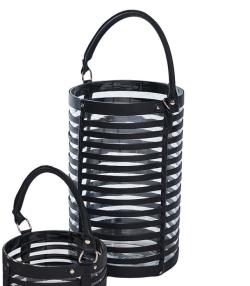 Billede af Lanterne i sort læder og glas