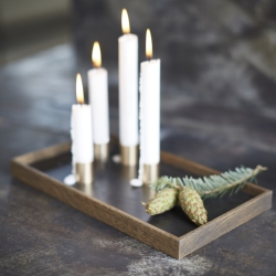 Candle Tray De Luxe - mørk træ med lysestager