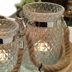 Billede af Glas lysestage med reb - stor