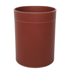 Papirkurv i læder - cognac