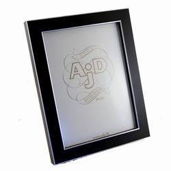 Image of   Træ fotoramme i sort og sølv 18x24 cm