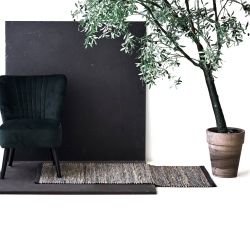 Jute tæppe i graphite - 65x135 cm