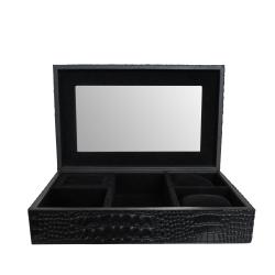 Billede af Smykkeskrin i sort kroko læder