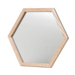 Spejl med træ ramme - 6 kantet