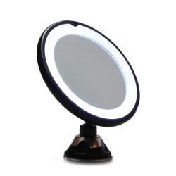 Spejl med x10 forstørrelse og sugekop og lys