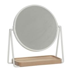 Billede af Bordspejl hvid metal og træ