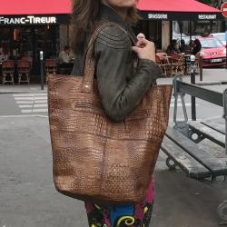 Billede af Stor læder taske - stor shopper - brun kroko præg
