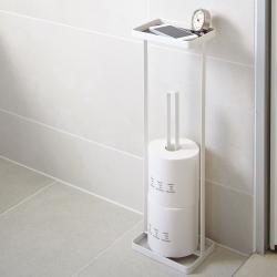Toiletrulleholder til gulv med hylde - hvid