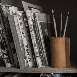 Billede af Block læder vase i natur - small