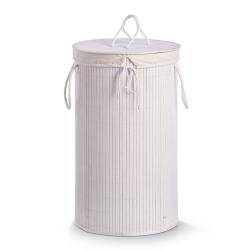 Image of   Rund vasketøjskurv i bambus - hvid