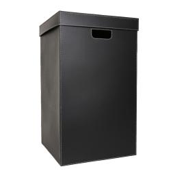 Image of   Vasketøjskurv - sort læder