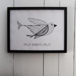 Billede af Fly Baby - Fly plakat 30*40 cm
