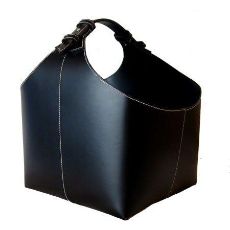 Magasinholder i sort læder