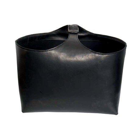Stor sort læder brændekurv - large
