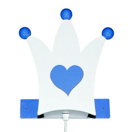 Krone børnelampe - hvid/lyseblå