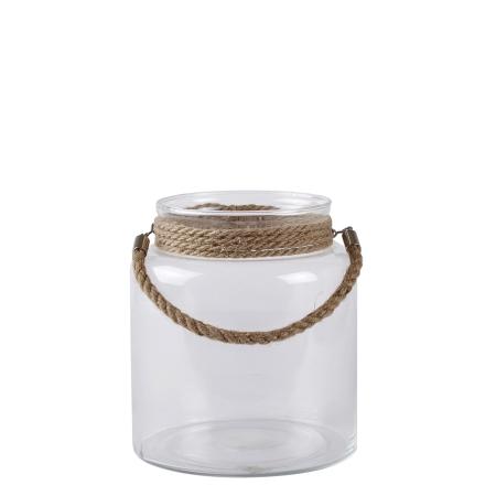 Glas lanterne med reb - small