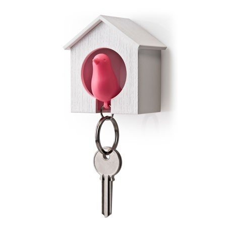 Nøgleholder fuglehus - pink/hvid