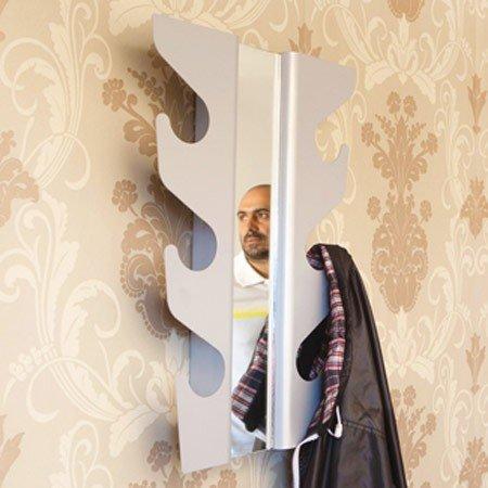 Wave coatrack med spejl - sølvfarvet knagerække