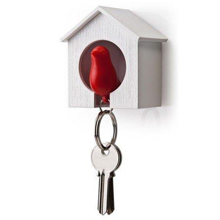 Nøgleholder fuglehus - rød/hvid