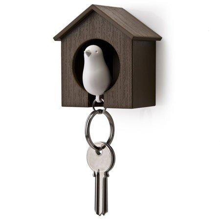 Nøgleholder fuglehus - hvid/brun