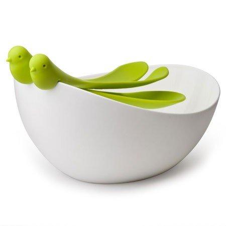 Salatsk�l med fugle salats�t - gr�n