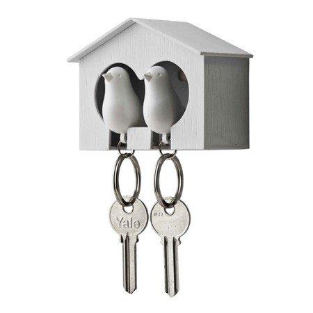 Nøgleholder med fugle - hvide