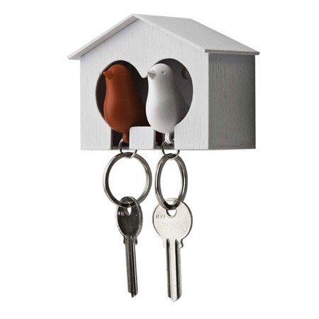 Nøgleholder med fugle - hvid og rød
