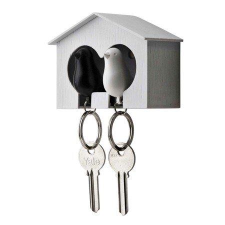 Nøgleholder med fugle - hvid og sort