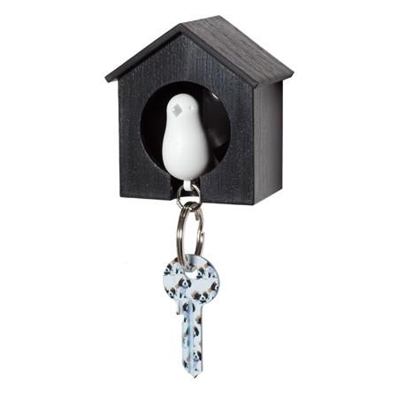 Nøgleholder fuglehus - hvid/sort